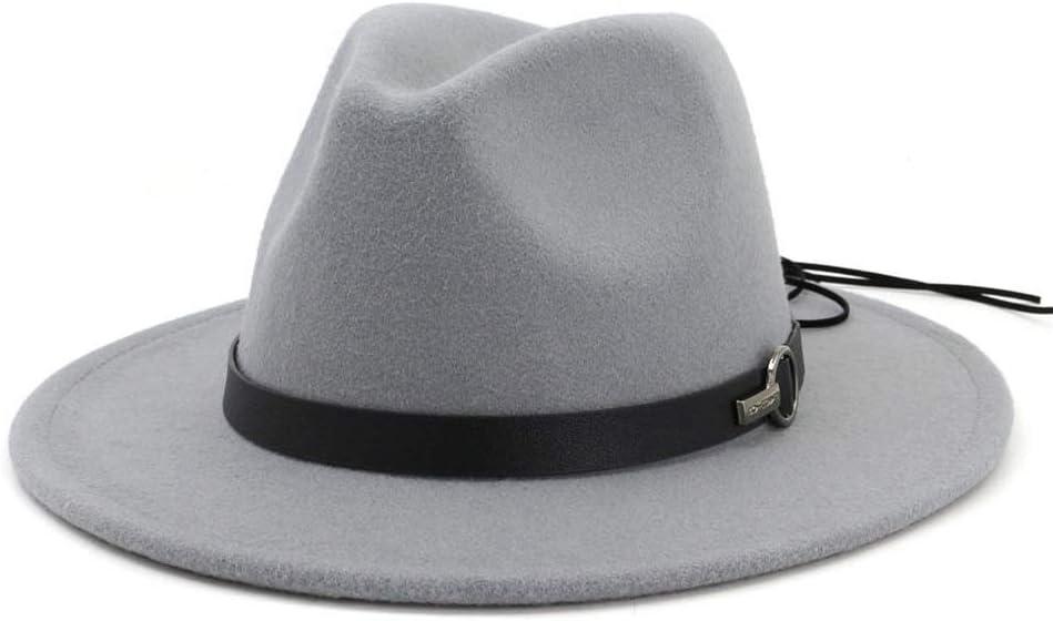 HXGAZXJQ 2019 Men Women Fedora Hat with Leather Belt Pop Jazz Hat Wide Brim Hat Casual Hat (Color : Gray, Size : 56-58)