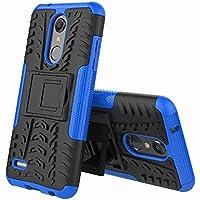 HDOMI Funda LG K10 2018, Desmontable PC + Silicona Gel Tup Cubierta Protectora de Doble Capa para Kickstand Caso para LG K10 2018 (Azul)