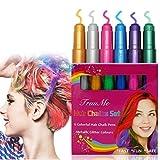 Hair Chalk, ColoreCapelli, ColoreCapelliTemporaneo - Set di 6 gessetti per capelli, lavabili, colori metallizzati e glitter, regalo per carnevale, festa, Natale e compleanno