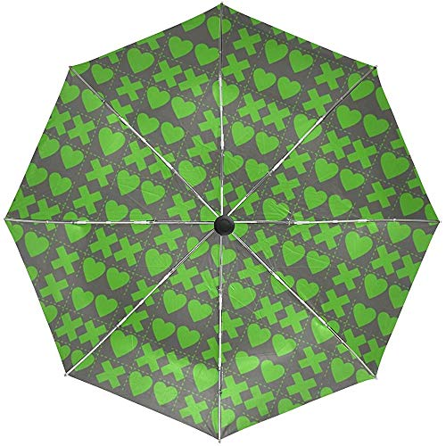 Automatischer Regenschirm quadriert Herz-Kreuz-Grün-Reise-bequemes winddichtes wasserdichtes faltendes Auto Open Close