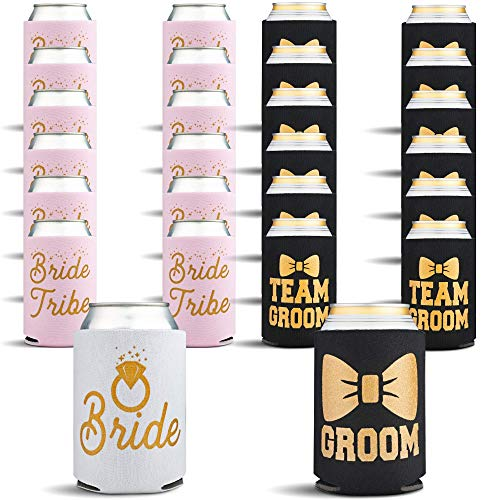 Bachelorette and Bachelor Party Can Cooler 26-Pack, Bride Groom Set