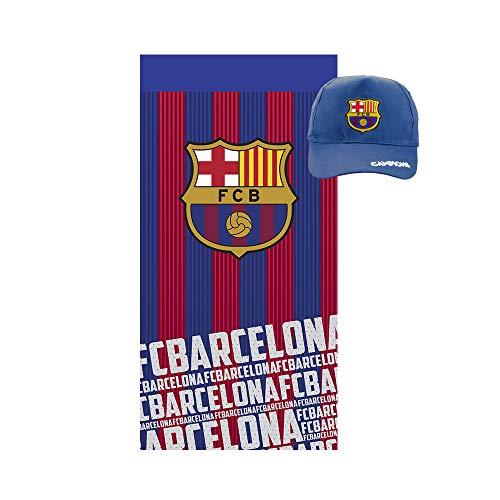 Pack Especial Regalo Toalla de algodón para Playa, baño, Trading,Gimnasio + Gorra Adulto con Visera FCB Barcelona.