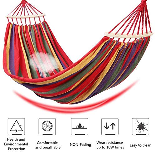 Ruixf Garden Hammock with Wooden Spread Bars and Carry Bag, Portable Canvas Striped Breathable Hammocks Perfect for Patio Yard Outdoors (L - 200cm X 150cm,Rainbow)