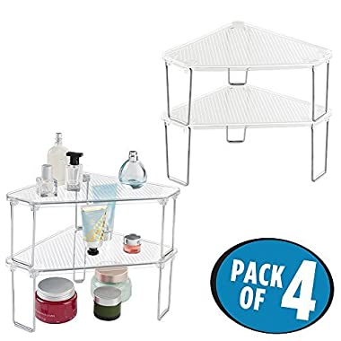 mDesign Free Standing Corner Storage Shelf for Bathroom Vanity Counter Top, Cabinet - Pack of 4, Clear