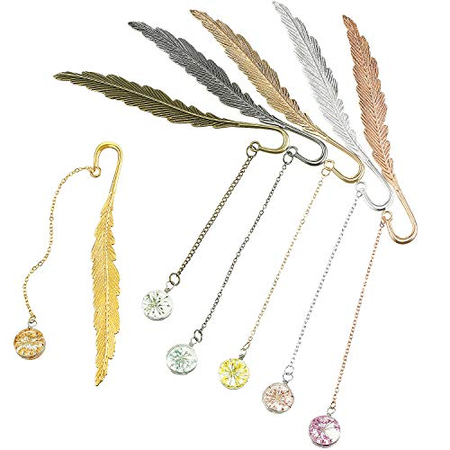 6 Pieces Dried Flower Specimen Bookmark Metal Feather Bookmarks Vintage Creative Book Clip Pendant Bookmark Book Page Marker for Reading Adults Kids Students Gifts, 6 Colors