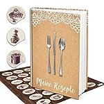 Logbuch-Verlag 50 cartons de table en papier kraft marron imprimé avec dentelle blanche - décoration cartes pour inscrire de noms - style vintage élégant - marriage anniversaire #3