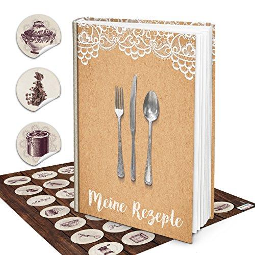 Grote Hardcover XXL receptenboek DIN A4 kookboek top zelfschrijven + vintage antiek keukensticker beige kraftpapierlook zelf vormgeven met register lege blanco pagina's