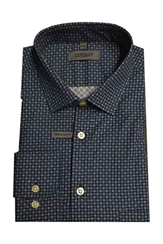 Luigi Morini Herrenhemd Marcello Marabotti Herrenhemd, Langarm, Art. 35-3520/10, blau, dezentes Muster, XXL