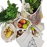 CarryTheCrane Wiederverwendbare Obst- und Gemüsebeutel aus Bio Baumwolle (GOTS) – Hochwertige Einkaufsnetze im 6-er Set inkl. Brotbeutel und Shopper (6er...