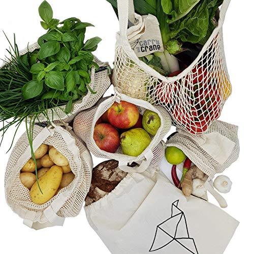 CarryTheCrane Wiederverwendbare Obst- und Gemüsebeutel aus Bio Baumwolle (GOTS) – Hochwertige Einkaufsnetze im 6-er Set inkl. Brotbeutel und Shopper (6er Baumwolle)