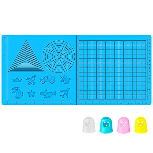 TECBEARS (2020 Version) 3D Pen Mat, 16.8 x 7.9 Inches 3D Printing Pen Mat Silicone Basic Template with 4 Finger Protectors, Best Tools for 3D Pens Drawing