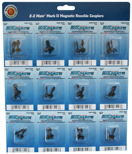 Bachmann Trains - E-Z MATE MARK II COUPLERS - MAGNETIC KNUCKLE COUPLERS with METAL COIL SPRING - UNDER SHANK - MEDIUM (12 pair/card) - HO Scale