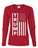 Trump Flag MAGA Republican Women's Long Sleeve T-Shirt Tee Red M