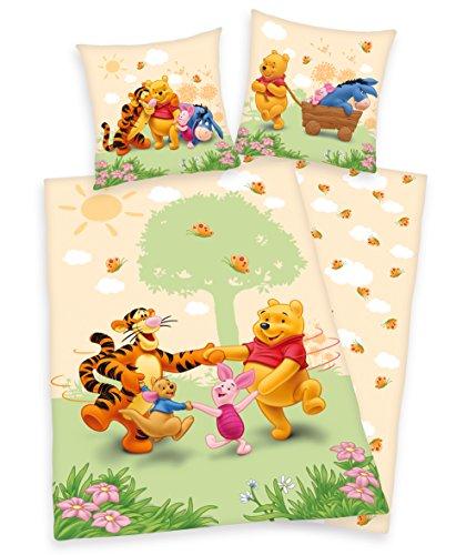 Herding Winnie the Pooh Bettwäsche 80x80 135x200cm, 100{24d14a61a5fb541a679d97e6f411043fa5d52f76e1985395ff638b3ab38db9f5} Baumwolle Renforce mit Reißverschluss