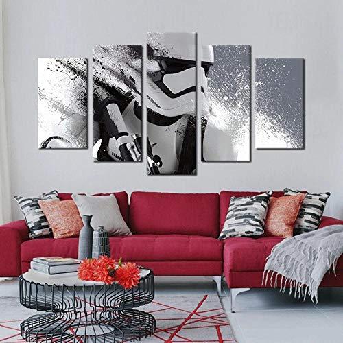 KOPASD Piy Painting 5 Piezas Cuadro sobre Lienzo Imagen Stormtrooper Imperial Impresión Pinturas Murales Decor Dibujo con Marco Fotografía para Oficina Aniversario200X100Cm