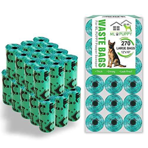 Jondarla Dog Poop Bags, Thick and Strong Dog Waste Bags, Large Poop Bags Refills Pooper Scooper, 270 Counts, 12×16'', Green, Unscented, Leak-Proof