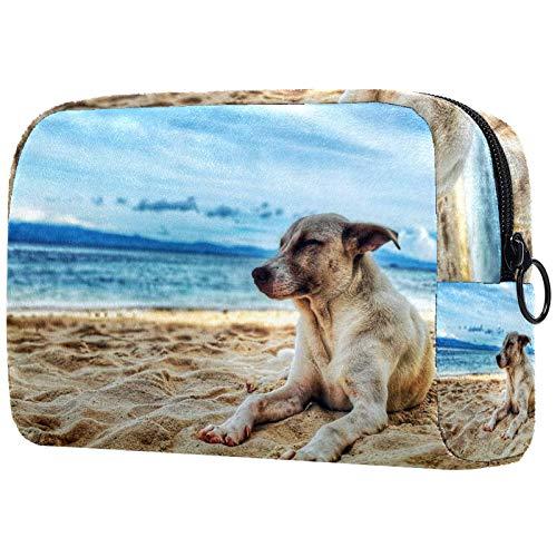Neceser de Maquillaje para Mujer Bolso Organizador de Kit de Viaje cosmético,Perro, acostado, Playa