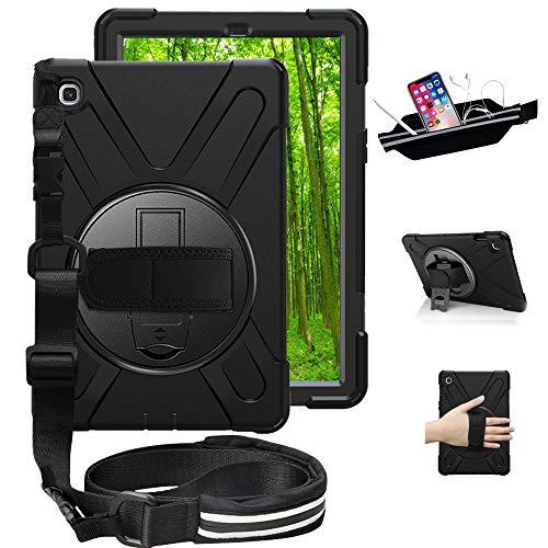 Junfire Hülle für Samsung Galaxy Tab S5e 10.5 SM-T720/T725 2019 Tablet-Handgurt Cover, 360 Grad Drehung mit Ständer, 3 Layer Hybrid Heavy Duty Stoßfest Hülle Schwarz