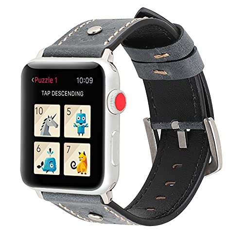 Correas Compatibles con Apple Watch Correa 42 Mm 44 Mm para Apple Watch SE Series 6 5 4 3 2 1, Correa De Repuesto De Cuero Genuino para Hombres Y Mujeres,42mm/44mm