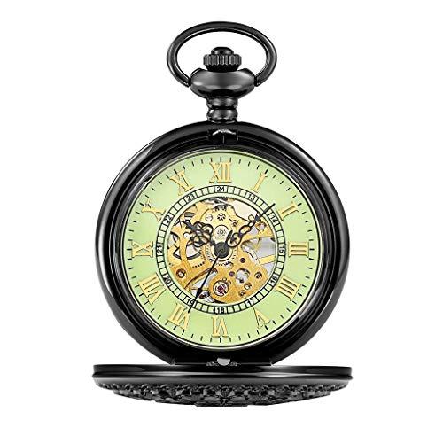 Reloj de Bolsillo clásico y Elegante. Reloj de Bolsillo con la Cadena, Grande Clamshell Tallado Gráfico de Pared Hueca mecánica de época, Día del Padre como/Aniversario Relojes Elder Regalo/for ho