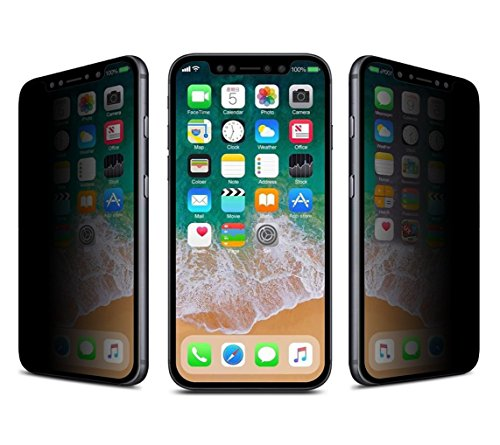 Josi Minea 3D Privacy Tempered Glass Screen Protector with Edge to Edge Coverage Clear Anti Spy Ballistic LCD Screen Cover Guard HD Shield Compatible with Apple iPhone 11 Pro, iPhone Xs & iPhone X