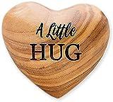 Un pequeño abrazo de madera corazón de madera de olivo corazón de madera decoraciones de amor corazón de madera token 3D forma de corazón para parejas regalos - A