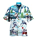 Let's Play Ice Hockey Short Sleeve Shirt Cotton Casual Button Down Shirt Unisex Full Print for Tropical Summer All Seasons Vacation Full Size S-5XL