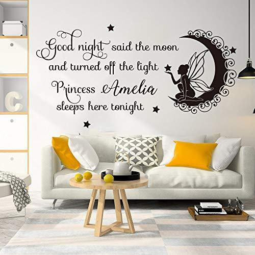 Name Märchen Gute Nacht Prinzessin Hier schlafen Wandtattoo Mädchen Zimmer Kinderzimmer Familie Liebe Mond Fairy Tail Wandaufkleber