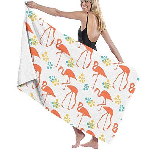 chillChur-DD Bath Towel Badetuch Wrap Orange Flamingos Drucke Womens Spa Dusche und...