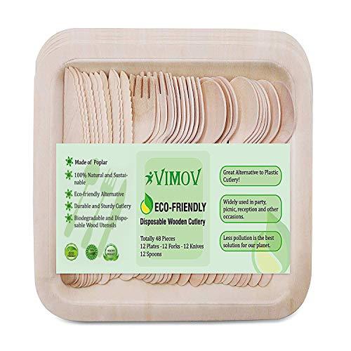 1. Cubiertos de madera y vajilla desechable Vimov - Set ecológico para fiestas