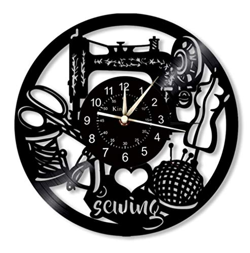 sewing Clock 12-Inch Vinyl Record Wall Clock | Decor For Tailor Shop | Hanging Lamp 7 Lighting Colors Wall Clock.