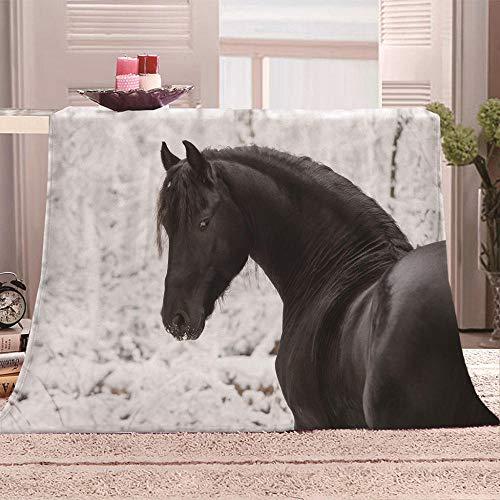 LOVEXOO Kuscheldecke Flanell Fleecedecke Schwarzes Pferd Decke Jet-Print Mikrofaser Creation Tagesdecke, Super Weiche Warme mit Zweiseitige Sofadecke, Reisedecke für Erwachsene Und Kinder 150x200 cm