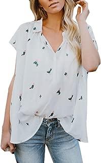 Women's Chiffon Lightweight Shirt, Ladies V-Neck Cactus Print Short Sleeve Casual Summer Tops Blouse T-Shirt for Daily Wear