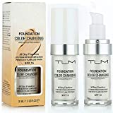 Pack Of 2 TLM Flawless Color Changing Foundation Ultimate Skin Care With SPF15 Protection Light and Absorbent Deep Moisturization and Nourishment Color Corrector Liquid Foundation Flawless Face Beauty