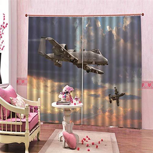 JcurtainC Vorhänge Blickdicht Undurchsichtige Wärmeisolierende Flugzeug Gardinen Für Schlafzimmer Wohnzimmer Kinderzimmer Dekorative Gardine Fensterdekoration (150x166cm