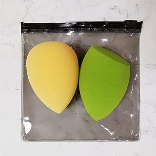 2pcs Beauty Makeup Sponge Puff Set Powder Foundation Blending Sponge Latex-Free Dry Wet Use Cosmetic Egg Mix Color 2 Shapes+ Bag,Orange and Green