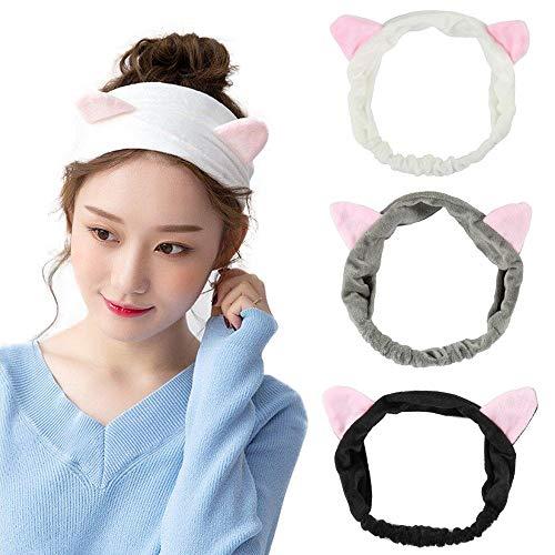 Nette reizende Mädchen Damen Katze Ohren Stirnband Frauen Schöne Make-up Dusche Gesicht waschen Haarband Grau Weiß und Schwarz