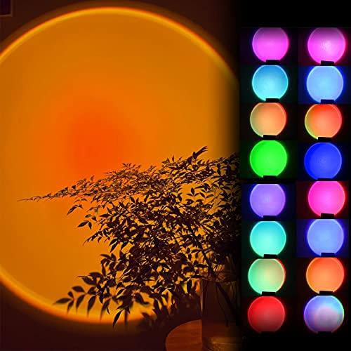Sunset Lamp,Sunset Projection Lamp,USB 180° Sunset Sunset Lamp,16 colores y 3 modos de iluminación,para Selfie Iluminación Dormitorio Salón Fiesta Lámpara Decoración
