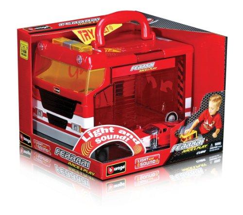 Bburago - 31201 - Véhicule Miniature - Ferrari - Garage Portable Electronique + 1 Ferrari - Echelle 1/43 eme