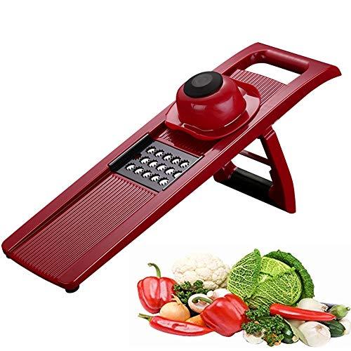 Mandolin Slicer, Multi Functional Vegetable Julienne Slicer Cutter, Best For Slicing Food Fruit and Vegetables (Color : Red)
