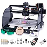 2-in-1 5500 m W Module Engraver CNC 3018 Pro-M Engraving Machine, GRBL Control 3 Axis Mini CNC Router Kit Working Area 300x180x45mm, with Offline Controller + Router Bits, for Wood Plastic Acrylic PVC
