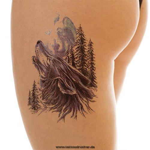 2 x Wolf Wald Mond Tattoo - Buntes XL Temporäres Tattoo HB231 (2)