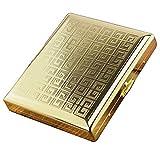 CHENG La Caja de Cigarrillos Metal Ultrafina Cigarrillo automático Regalo de Empresa Puede acomodar 20 Cigarrillos,Gold,93X78X16MM