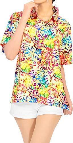 LA LEELA Hawaiian Blouse | Vrouwen Tuniek Shirt | Beach Party Top | Zomer Casual | Plus Size Losse Aloha | Korte mouw | XS - 3XL | | Digital DRT104