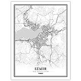 YUAN Leinwand Bild,Türkei Izmir Stadt Karte Schwarz Weiß