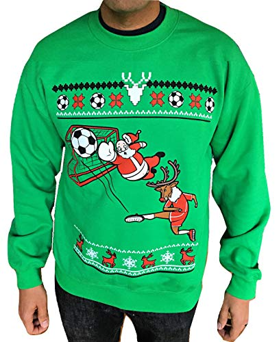 Soccer Santa - Ugly Christmas Sweater - Funny Christmas Sweatshirt - For Men and Women (XL) Green