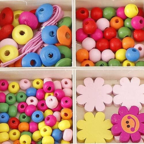 MMYAN Kit de cuentas de bricolaje para niños de madera de cuentas hechas a mano de perlas de color de madera de los niños para hacer joyas a mano