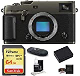 Fujifilm X-Pro3 Mirrorless Digital Camera Body Bundle, Includes: SanDisk 64GB Extreme SDXC Memory Card + Spare Battery + More (6 Items) (Dura Black)