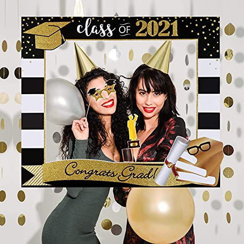 Large Size Graduation Photo Booth Props 2021 and Selfie Frame - Graduation Party Decoration Supplies 2021 for College High School, Gold Glitter 9 Counts