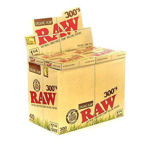 Raw 300S Organic Cinco paquetes (1500 papeles totales) papel de liar para cigarrillos, tamaño 1,25